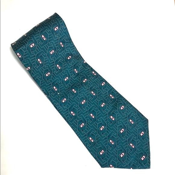 Dior Other - Christian Green Geometric Tie -100% silk 56Lx4W